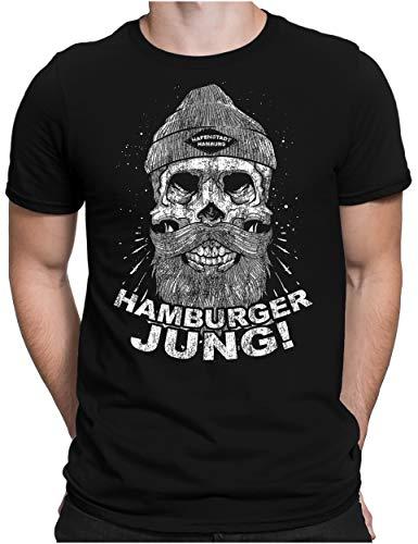 PAPAYANA - Hamburger Jung - Herren Fun T-Shirt - Regular Fit - Hafenstadt Hamburg Sailor - Schwarz - XXL