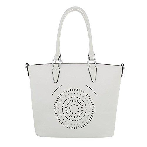 Ital-Design Damen-Tasche Große Handtasche Schultertasche Kunstleder Weiß TA-9227