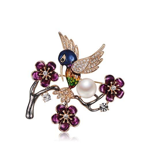 ANAZOZ 18K Gold Brosche Damen Lila Flower Pearl Zirkonia Elster Broschen für Frauen mit 10-11mm Perle Geschenk für Mutter Freundin Frauen