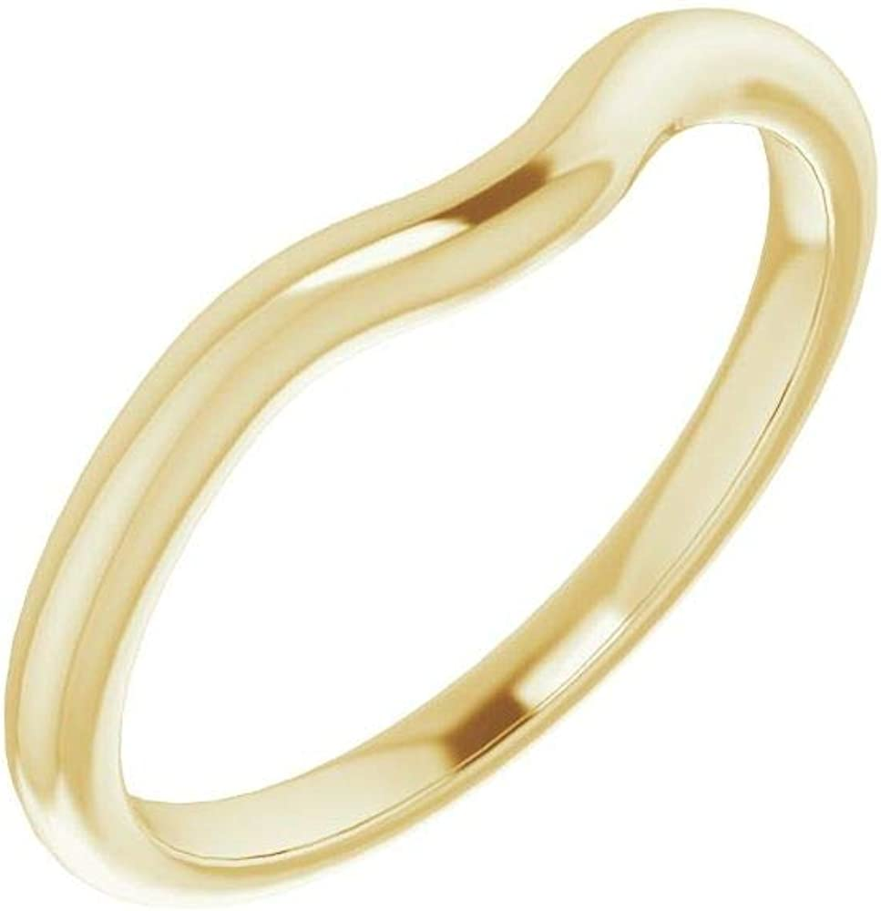 Solid 10K Yellow Gold Curved Notched Wedding Band for 6 x 6mm Cushion Ring Guard Enhancer - Size 7