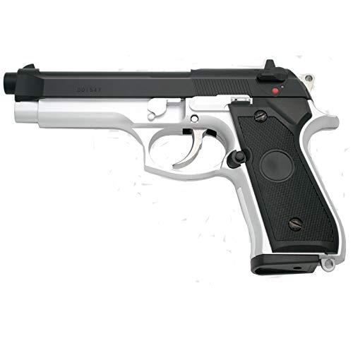 Pistola Y&P de Gas Tipo Beretta 92F Calibre 6mm - Bicolor - Energía 1.63 Julios - Velocidad de Disparo 127m/s - 420 FPS. Ref:G104BC
