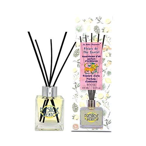 Diffuseur parfum Fleur de Thé Santal 100ml avec bâtonnets – Boisé et Floral - Artisan Parfumeur en Côte d'Azur