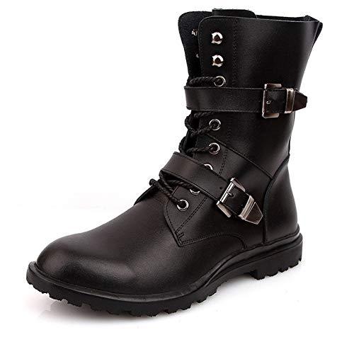 WATERMELON Combat Boots for Männer Retro Style Kurze Stiefel schnüren Sich Oben echtes Leder Gummisohle Stitching Dual-Monk Straps (mit Fleece-Futter Optional) (Color : Schwarz, Größe : 40 EU)