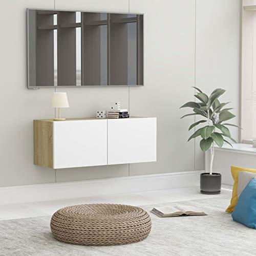 Tidyard TV-skåp med 2 fällbara dörrar TV-möbler hängbräda lågbräda TV-bord skänk HiFi spånskiva, vit och Sonoma-ek 80 x 30 x 30 cm