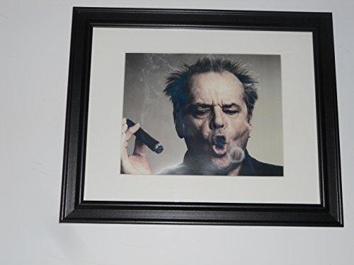 Framed Jack Nicholson Head Shot Cigar Smoke Ring Poster Glass Frame 14' by 17'