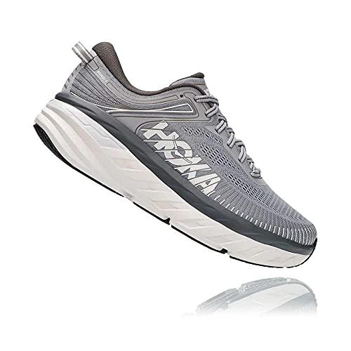 HOKA ONE ONE ONE Zapatillas de correr para hombre Bondi 7, Gris (Paloma Salvaje/Sombra Oscura), 45 EU