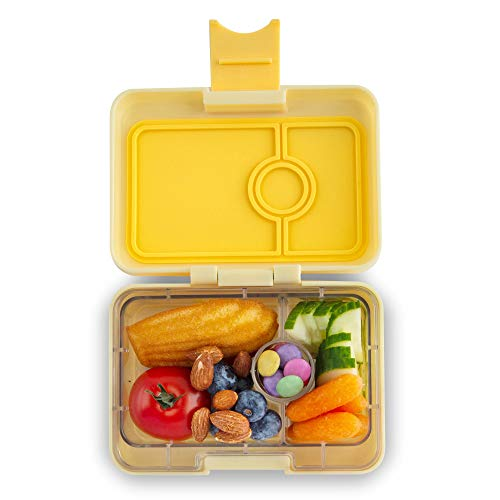 Yumbox Mini XS Snackbox - 3 Fächer (Sunburst Yellow) | Kleine Kinder Bento Box | Brotdose Vesperbox für Krippe, Kindergarten