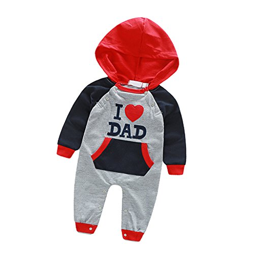 Prettyia Neugeborene Baby Overall Baumwolle Bodysuit Spielanzug Kapuze i Love Dad/Mom - Ich Liebe Papa, 70
