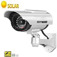 ElevenY フェイク ダミー ソーラー エナジー カメラ ブレット 防水 アウトドア インドア セキュリティ CCTV 監視カメラ フラッシュ レッド LED