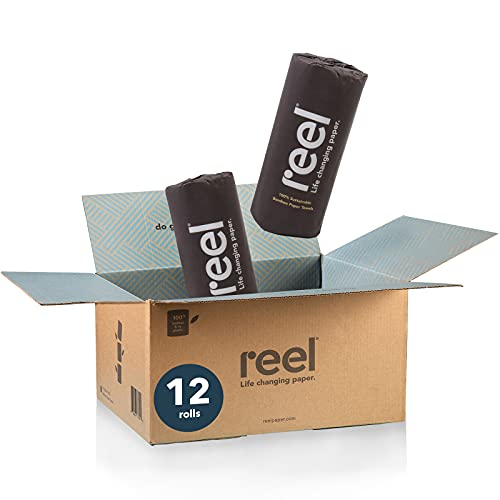 Reel Premium Bamboo Paper Towels- 12 Rolls of Paper Towels - 2-Ply Made From Tree-Free, 100% Bamboo Fibers - Eco-Friendly and Zero Plastic Packaging