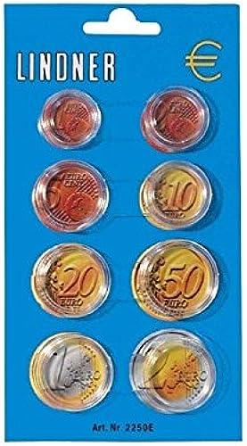 Lindner 2251E Münzkapseldisplay für einen Euro-Kursmünzen-Satz-100er Pack
