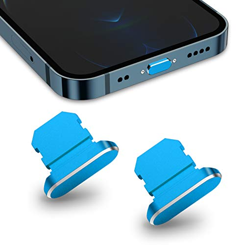 TITACUTE 2 Pack Anti Dust Plugs for iPhone 11/12 Pro Max Dust Cover 8 Pin Dust Plug with Mini Storage Box iPhone Charging Port Plugs Compatible with iPhone 12 Mini/ 11 Pro/XS/XR/ 8 Plus Blue