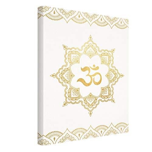 Bilderwelten Cuadro en Lienzo Mandala Om Illustration Ornament White 40 x 30cm Canvas