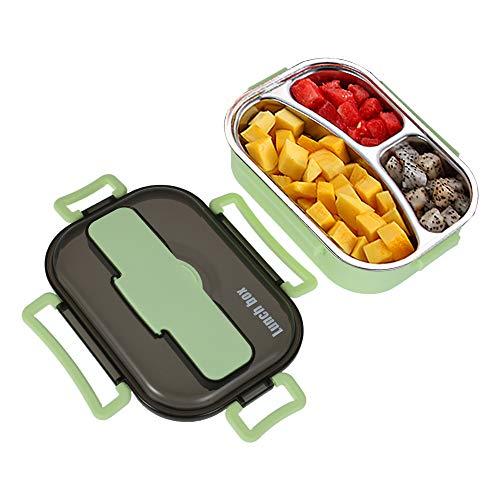camouflage net Isolierte Lunchbox, Tragbar Brotzeitbox, 1000ml Brotdose mit Fächer, Vesperdose mit Löffel&Essstäbchen, Brotbox für Kinder Schule Arbeit Wandern Reisen Büro (Grün 3Fächer)