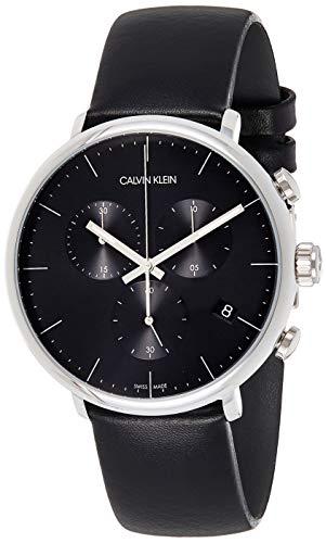Calvin Klein Herren Analog Quarz Uhr mit Echtes Leder Armband K8M271C1