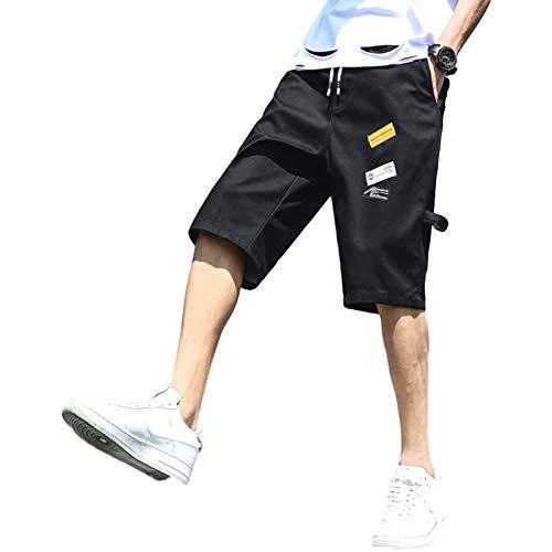 Pantalones Cortos de Mezclilla para Hombre, Pantalones Cortos Deportivos de Tendencia de Ocio de Verano, Pantalones de 7 Puntos con Estampado de Personalidad de Playa Suelta L