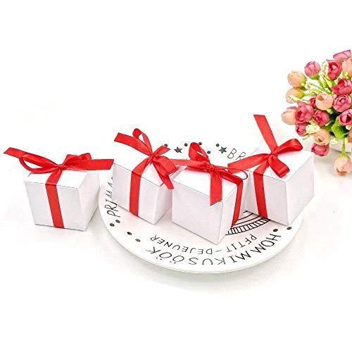JZK 50 Blanco Cajas de Favor Boda con Cintas Rojo Caja Dulces de Papel para Boda cumpleaños Navidad graduación Bautizo Baby Shower Fiesta de comunión