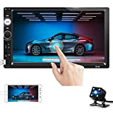 Double Din Car Stereo 7 Inch Touchscreen Car Radio with Bluetooth FM Receiver in-Dash Multimedia Car Player with USB/AUX/SD Card Input, Mirror Link + Backup Camera