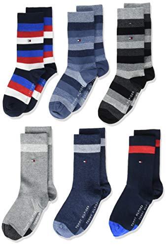 Tommy Hilfiger Unisex-Child Basic Stripe Kids Multipack 6 Pack Casual Sock, black/jeans/midnight blue, 35/38