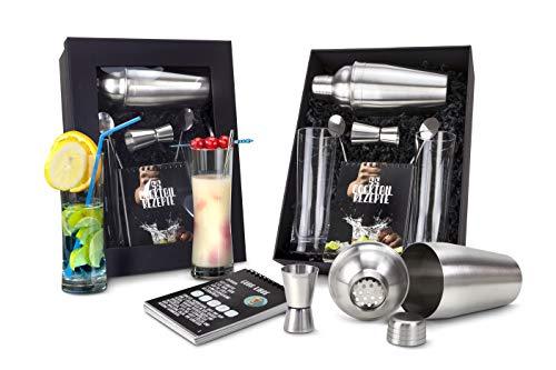 Römer Präsente Geschenkset Cocktailbox: 8-teilig, Cocktailshaker, Rezeptbuch mit 55 Rezepten, 2 Longdrinkgläser + 2 Löffel, 1 Barmaß in schwarzem Geschenkkarton