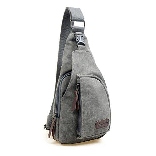 LEORX Herren Sport Brust Sling Bag Unwucht Rucksack Tasche aus PVC-Größe L (grau)