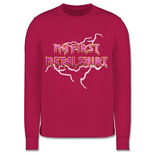 Sprüche Kind - My First Metal Shirt mit Blitzen rosa - 104 (3/4 Jahre) - Fuchsia - Geschenk - JH030K - Kinder Pullover