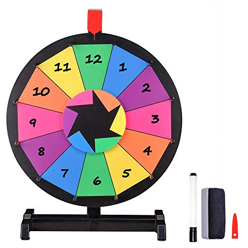 """WinSpin 15"""" Tabletop Editable Color Prize Wheel 12 Slot Spinning Game with Dry Erase Tradeshow Carnival"""