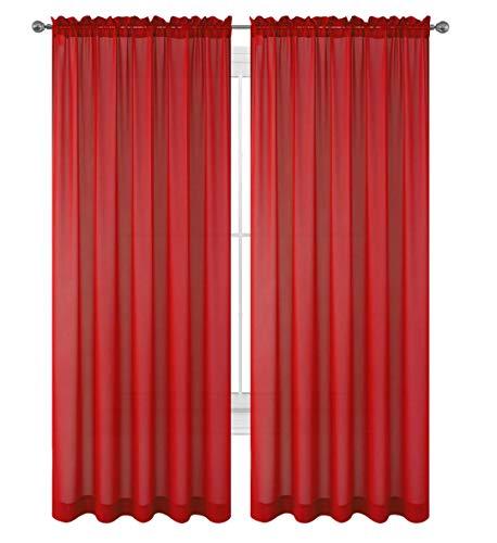 "WPM 2 Piece Beautiful Sheer Window Elegance Curtains/drape/panels/treatment 60""w X 84""l (Red)"