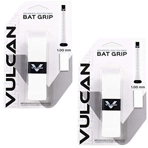 Vulcan Baseball Softball Bat Grip Tape - (1.0 MM, 2-Pack, White) - Bat Handle Wrap for Batting