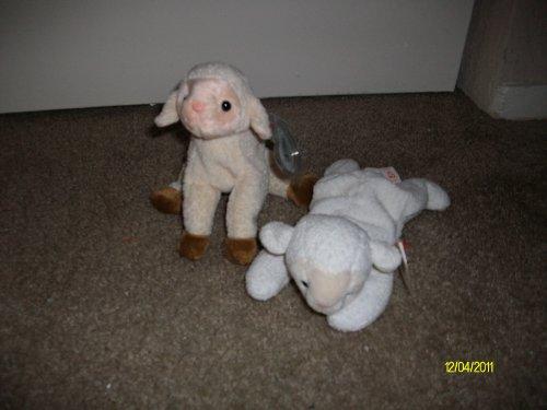 Set of 2 Sheep/Lamb Beanie Baby's-Ewey and Fleece