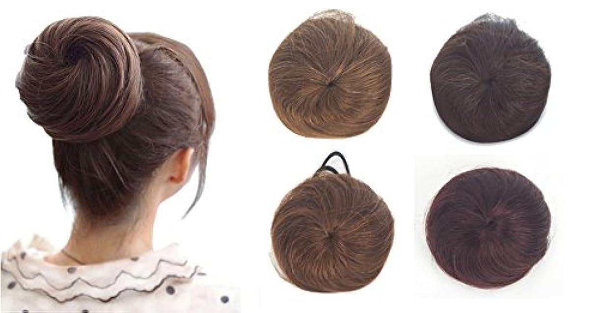 トレードカテゴリー正午ZAIQUN 100%人毛シニョンヘア派手なシュシュパンおしっこヘアエクステンションウェーブカーリーメッシードーナツヘアピースヘアリボンポニーテールエクステンション(20g)