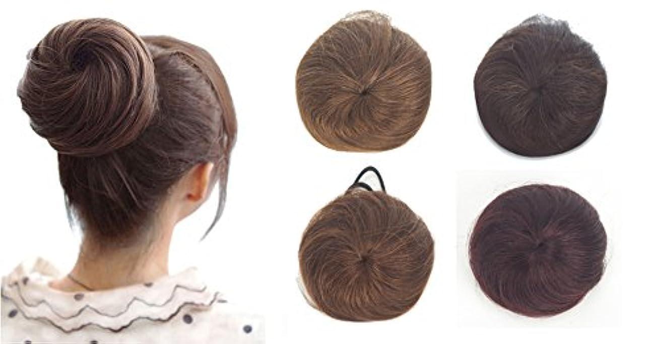 変色する特権的谷ZAIQUN 100%人毛シニョンヘア派手なシュシュパンおしっこヘアエクステンションウェーブカーリーメッシードーナツヘアピースヘアリボンポニーテールエクステンション(20g)