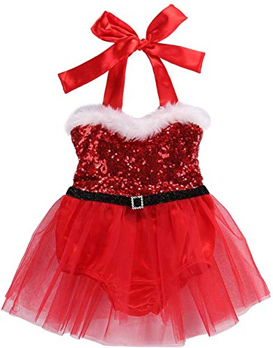 Fioukiay Newborn Baby Girl Christmas Sequins Dress Christmas Outfit Lace Tulle Tutu Party Dresses for Toddler Red