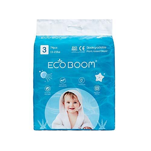 ECO BOOM Lot de 74 couches biodégradables jetables à base de plantes avec 0% d'huile de plastique sur la peau - Respectueux de l'environnement - Taille 3 (74 pièces) - 6 à 10 kg - Super absorbantes