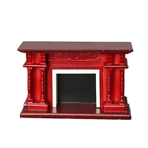 Healifty Muebles de Casa de Muñecas de Madera Mini Chimenea Modelo Miniatura Estatuilla Ornamento para Jardín de Hadas Decoración 1:12 Casa de Muñecas