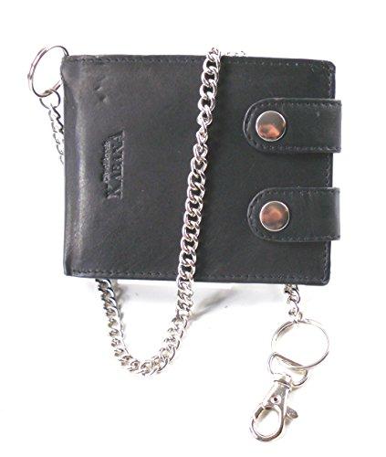 Billetera negro estilo motero de cuero con cadena de metal