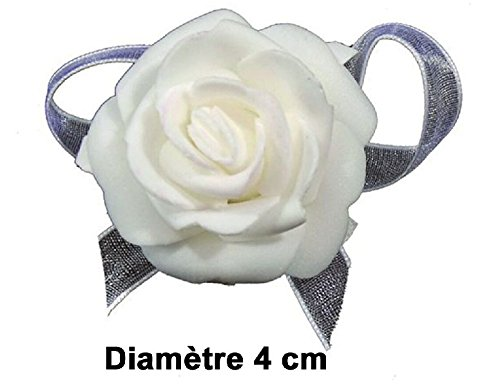 Rose autocolante X6 - Blanc