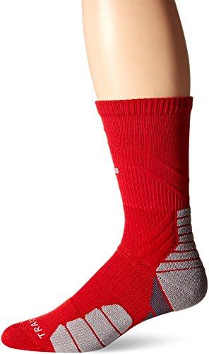 adidas Traxion Menace Fußball/Basketball Crew Socken, Unisex-Erwachsene Herren, Power Red/ Weiß/ Light Onix/ Onix, Large