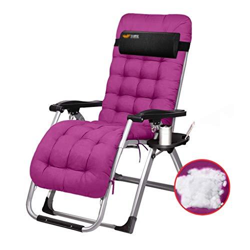 Fauteuil inclinable Zero Gravity Patio Lounge Chaises Chaise d'extérieur jardin Chaise longue avec oreiller et utilitaire Plateau pliant inclinable for Pool Side, Deck, Plage, Jardin - Violet