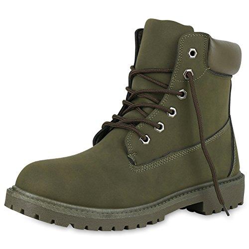 SCARPE VITA Herren Worker Boots Bequeme Outdoor Schuhe Profil Leder-Optik 151832 Dunkelgrün 42