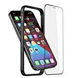 Slim Metal Bumper Case Compatible with iPhone 12 12 Pro, Metal Bumper Cover with Soft TPU Inner [No Signal Interference][Support Wireless Charging] Compatible for iPhone 12 12 Pro, Black
