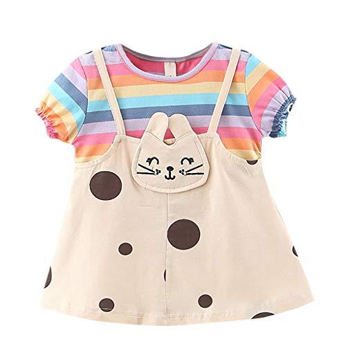LUNE Cotton1-3 Ans T-Shirt Robe D'été pour Filles Cat Mignon Mode Enfant en Bas âge Enfants Bébé O-Neck Vêtements de Genou-Longueur Tenues Nouveau en 2020 (6-12 Mois, Rose)