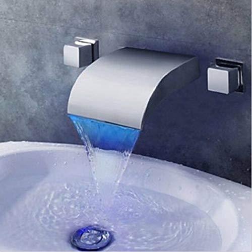 G0000D-Grifo de montaje en pared cromado llevó cascada baño lavabo grifo doble manija mezclador nuevo == {}