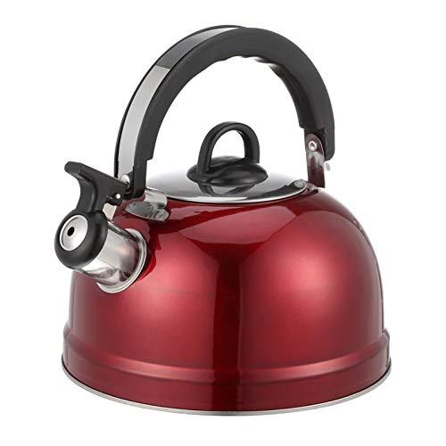 DOITOOL 1. 2L estufa superior silbando té hervidor de acero inoxidable de ebullición rápida agua tetera de sonido con mango anti caliente para cocina de inducción Gas rojo