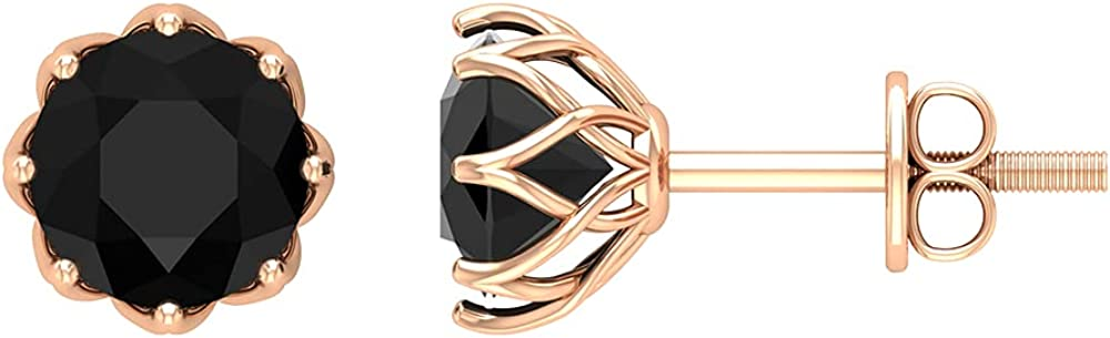 1.50 CT Black Onyx Solitaire Stud Earrings in Floral Setting (6 MM Round Cut Black Onyx),14K Rose Gold,Black Onyx