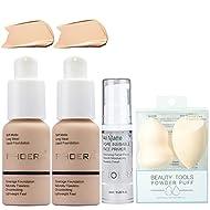 2Pcs Foundation and Face Primer,Liquid Full Coverage Foundation Set,2 Makeup Sponge,Matte Oil Contro...