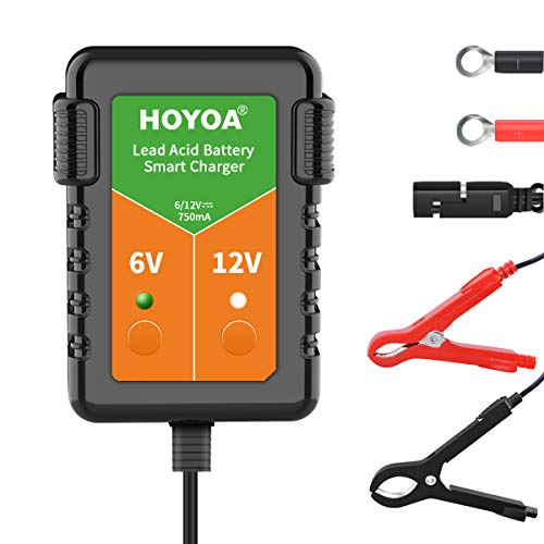 HOYOA 6V and 12V battery charger 750ma battery charger maintenance charger trickle charge Maintain Charger Lead Acid Gel/AGM for Car Automotive Motorcycles and Lawn Mower