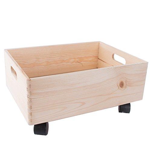 Tamaño mediano de madera apilables caja de almacenamiento con asas y ruedas/organización/caja de almacenaje