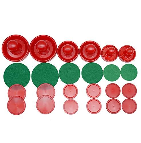 LZYMSZ Home Standard Air Hockey, 6 Sätze Leichte Air Hockey Ersatzpucks und Slider Pusher für Spieltische Ausrüstung (Klein / Mittel / Groß)