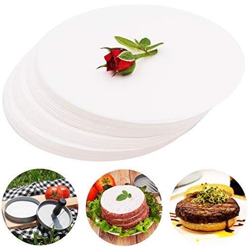 Meykers Patty Paper Sheets for 4 /4.5 Inch Burger Press - 500 pcs Round Hamburger Maker Non-Stick Heat Resistant Circle Wax Parchment Paper liege waffle keto chaffle Cookie Cake Bake